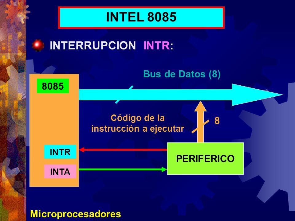 Microprocesadores INTEL 8085 INTERRUPCION INTR: 8085 PERIFERICO INTR INTA Bus de Datos (8) Código de la instrucción a ejecutar 8