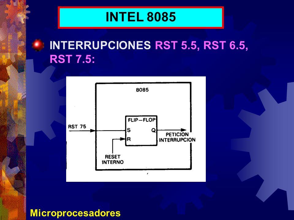 Microprocesadores INTEL 8085 INTERRUPCIONES RST 5.5, RST 6.5, RST 7.5:
