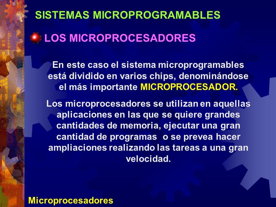 SISTEMAS MICROPROGRAMABLES LOS MICROPROCESADORES Microprocesadores En este caso el sistema microprogramables está dividido en varios chips, denominánd