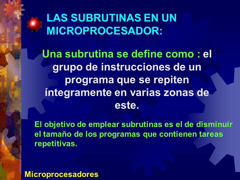 Microprocesadores LAS SUBRUTINAS EN UN MICROPROCESADOR: Una subrutina se define como : el grupo de instrucciones de un programa que se repiten íntegra
