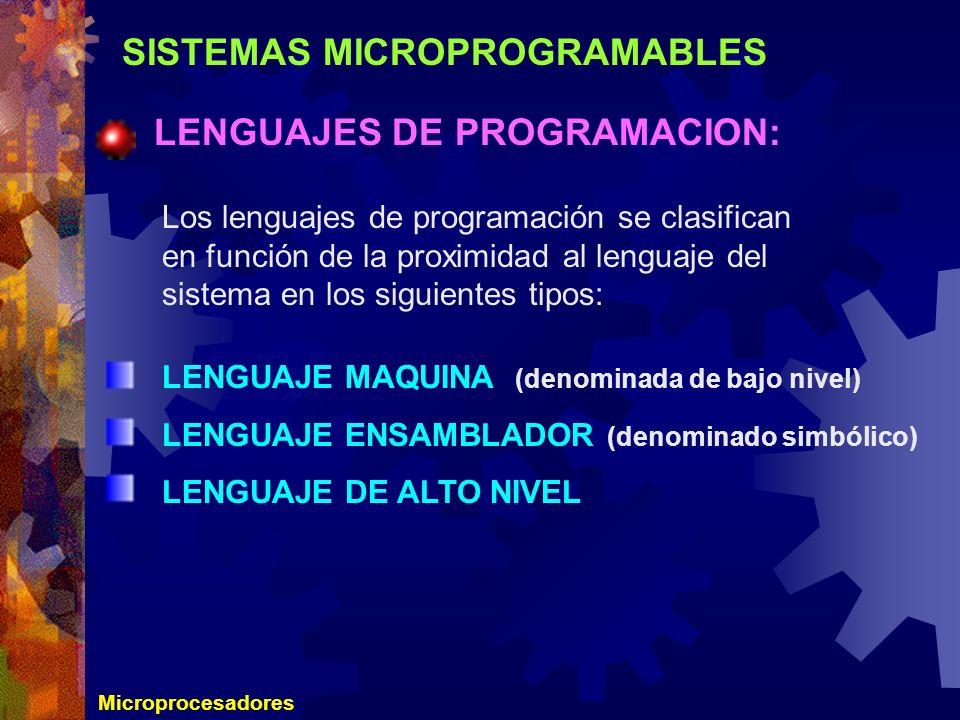 SISTEMAS MICROPROGRAMABLES LENGUAJES DE PROGRAMACION: Microprocesadores Los lenguajes de programación se clasifican en función de la proximidad al len