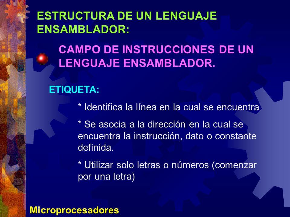 ESTRUCTURA DE UN LENGUAJE ENSAMBLADOR: CAMPO DE INSTRUCCIONES DE UN LENGUAJE ENSAMBLADOR. Microprocesadores ETIQUETA: * Identifica la línea en la cual