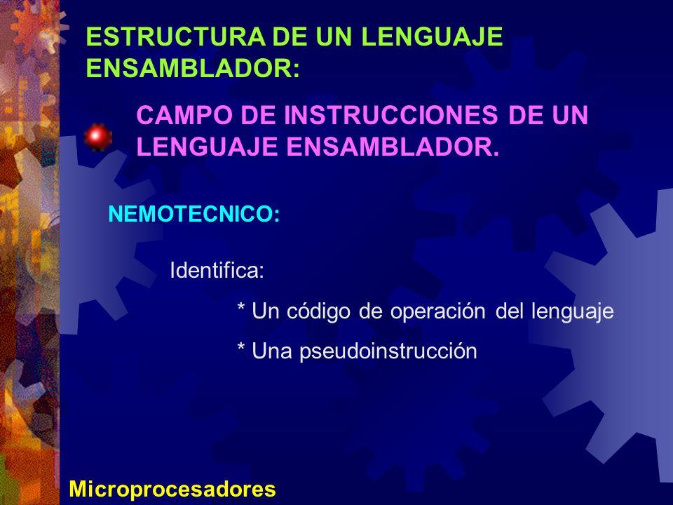 ESTRUCTURA DE UN LENGUAJE ENSAMBLADOR: CAMPO DE INSTRUCCIONES DE UN LENGUAJE ENSAMBLADOR. Microprocesadores NEMOTECNICO: Identifica: * Un código de op