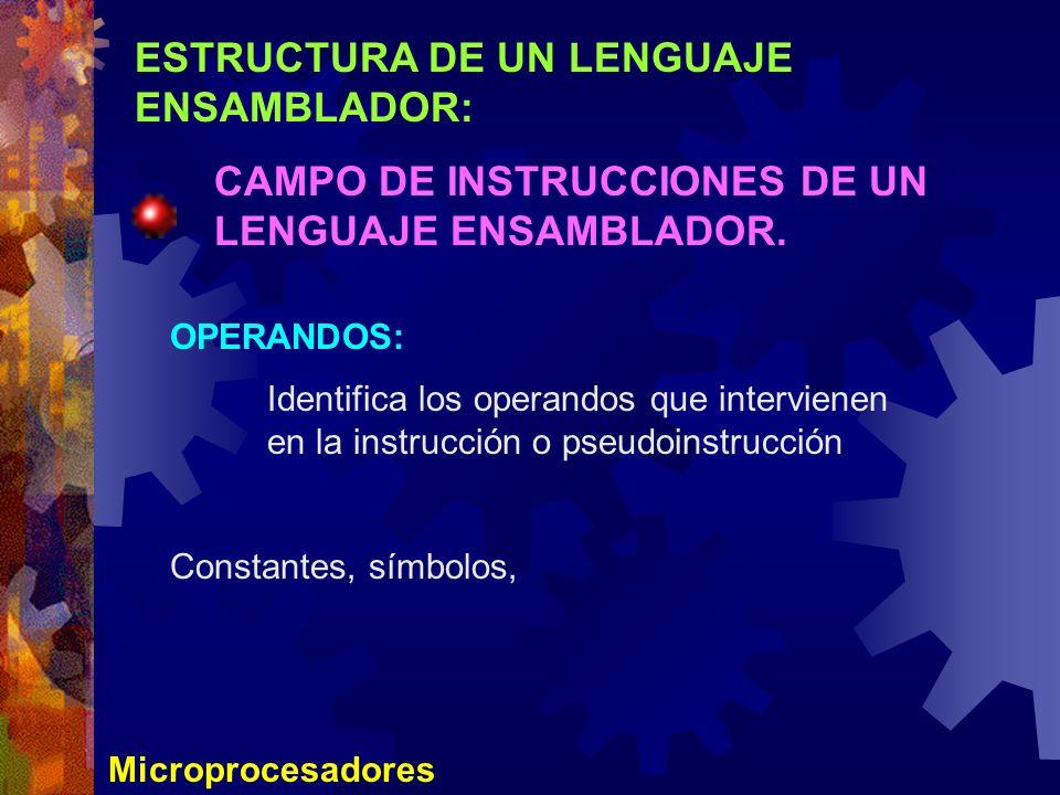 ESTRUCTURA DE UN LENGUAJE ENSAMBLADOR: CAMPO DE INSTRUCCIONES DE UN LENGUAJE ENSAMBLADOR. Microprocesadores OPERANDOS: Identifica los operandos que in