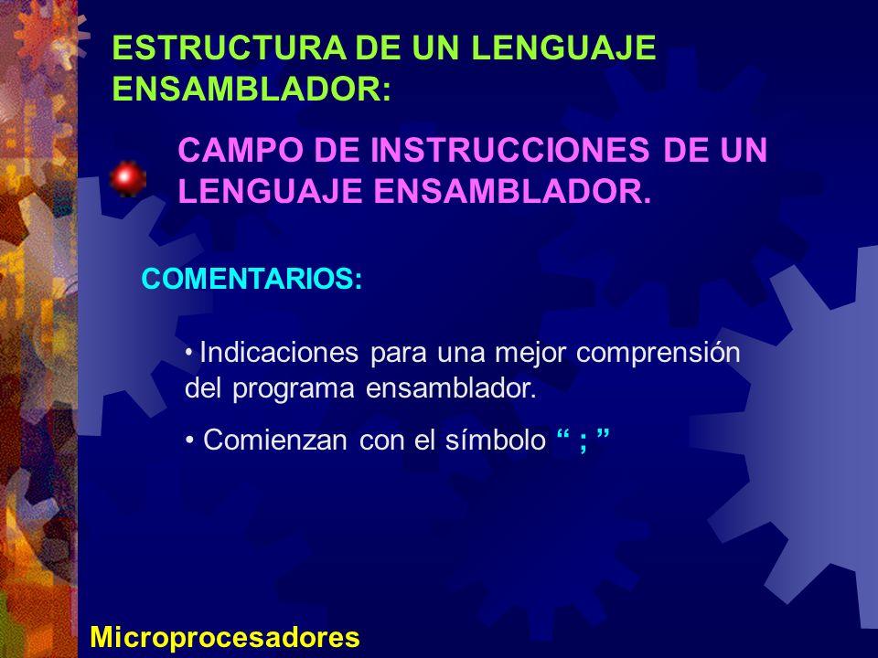 ESTRUCTURA DE UN LENGUAJE ENSAMBLADOR: CAMPO DE INSTRUCCIONES DE UN LENGUAJE ENSAMBLADOR. Microprocesadores COMENTARIOS: Indicaciones para una mejor c