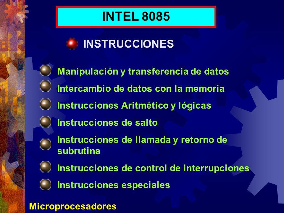 Microprocesadores INTEL 8085 INSTRUCCIONES Manipulación y transferencia de datos Intercambio de datos con la memoria Instrucciones Aritmético y lógica