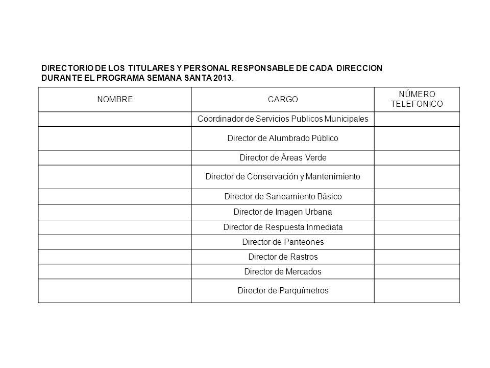 DIRECTORIO DE LOS TITULARES Y PERSONAL RESPONSABLE DE CADA DIRECCION DURANTE EL PROGRAMA SEMANA SANTA 2013. NOMBRECARGO NÚMERO TELEFONICO Coordinador