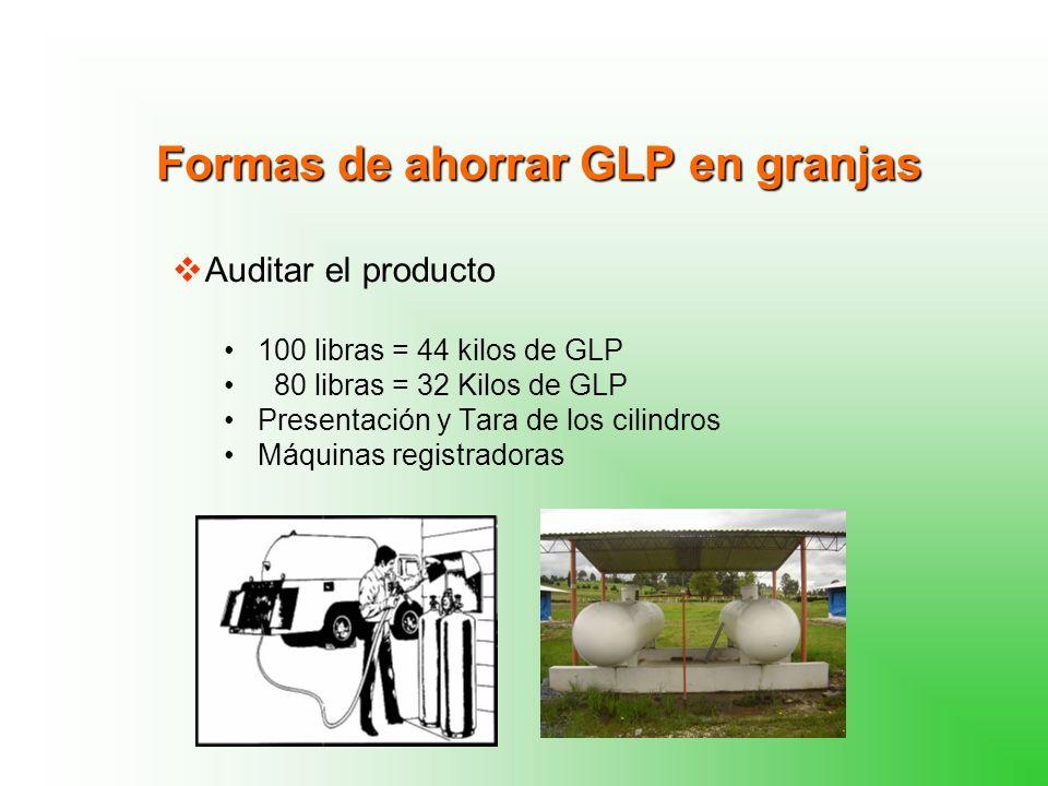 Formas de ahorrar GLP en granjas Auditar el producto 100 libras = 44 kilos de GLP 80 libras = 32 Kilos de GLP Presentación y Tara de los cilindros Máquinas registradoras
