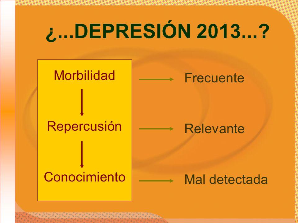 ¿...DEPRESIÓN 2013...? Morbilidad Repercusión Conocimiento Frecuente Relevante Mal detectada