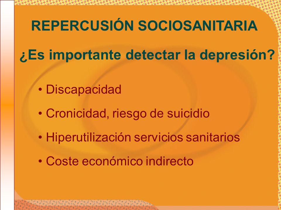 Discapacidad REPERCUSIÓN SOCIOSANITARIA ¿Es importante detectar la depresión? Cronicidad, riesgo de suicidio Hiperutilización servicios sanitarios Cos