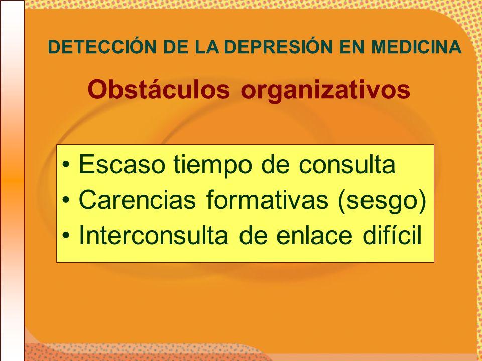 Escaso tiempo de consulta Carencias formativas (sesgo) Interconsulta de enlace difícil DETECCIÓN DE LA DEPRESIÓN EN MEDICINA Obstáculos organizativos