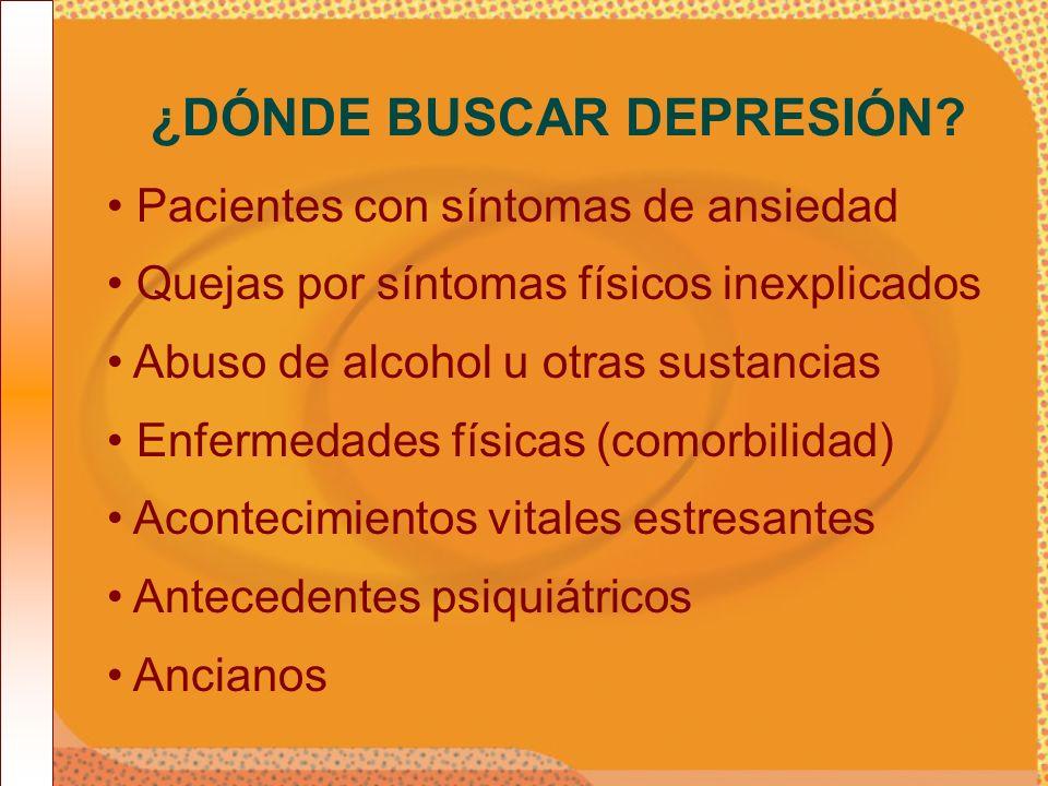 Pacientes con síntomas de ansiedad Quejas por síntomas físicos inexplicados Abuso de alcohol u otras sustancias Enfermedades físicas (comorbilidad) Ac