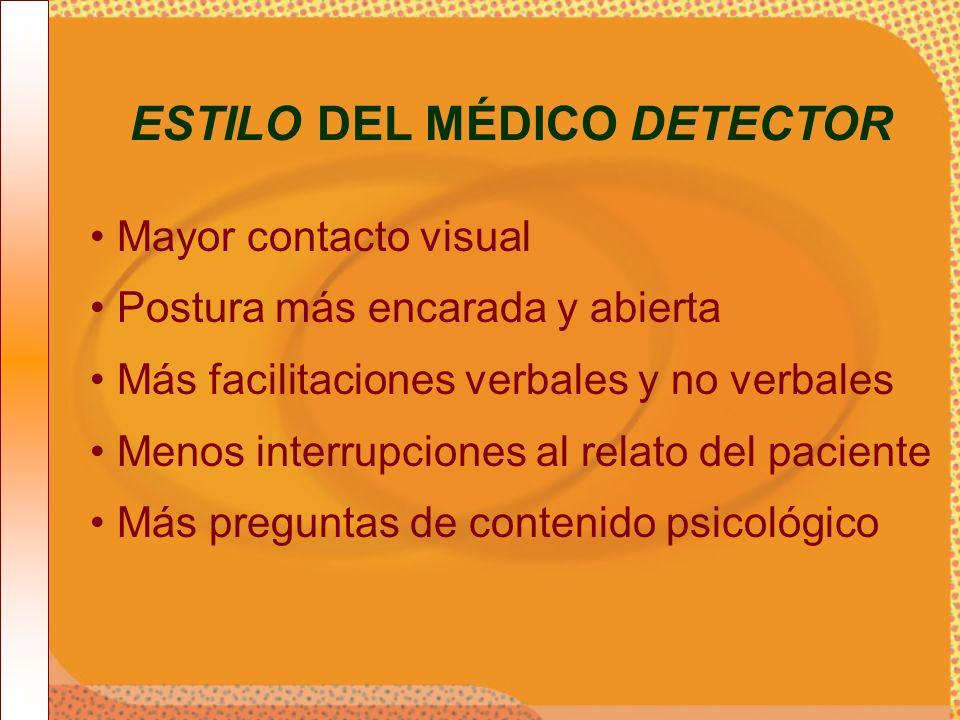 Mayor contacto visual Postura más encarada y abierta Más facilitaciones verbales y no verbales Menos interrupciones al relato del paciente Más pregunt