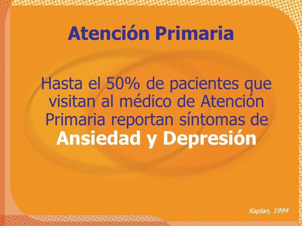Atención Primaria Hasta el 50% de pacientes que visitan al médico de Atención Primaria reportan síntomas de Ansiedad y Depresión Kaplan, 1994