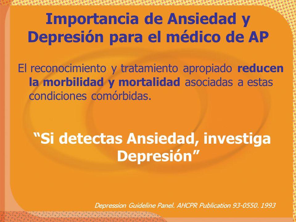 Depression Guideline Panel. AHCPR Publication 93-0550. 1993 El reconocimiento y tratamiento apropiado reducen la morbilidad y mortalidad asociadas a e