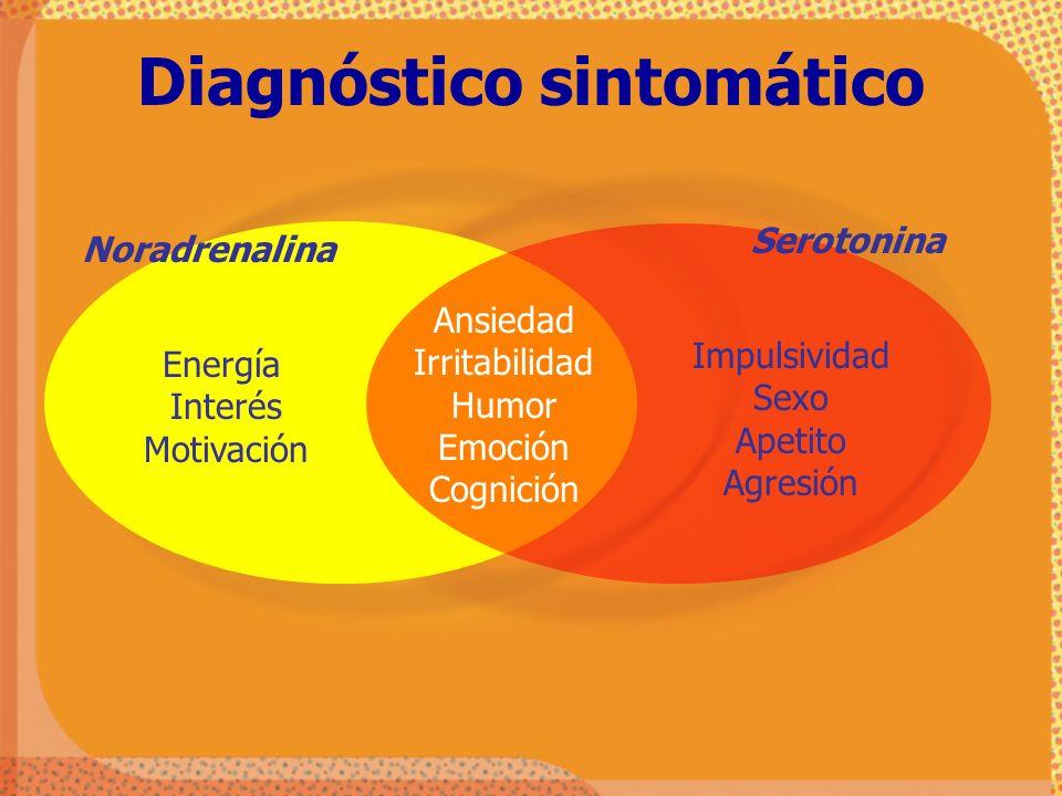 Noradrenalina Serotonina Energía Interés Motivación Impulsividad Sexo Apetito Agresión Ansiedad Irritabilidad Humor Emoción Cognición Diagnóstico sint