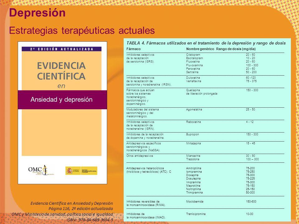 Depresión Estrategias terapéuticas actuales Evidencia Científica en Ansiedad y Depresión Página 116, 2ª edición actualizada OMC y Ministerio de sanida