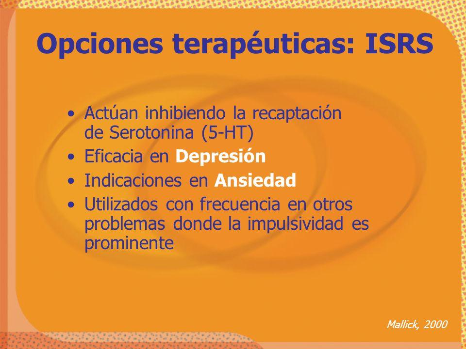 Actúan inhibiendo la recaptación de Serotonina (5-HT) Eficacia en Depresión Indicaciones en Ansiedad Utilizados con frecuencia en otros problemas dond