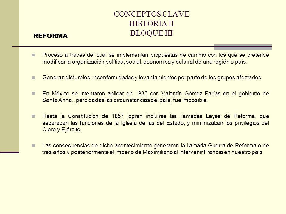 CONCEPTOS CLAVE HISTORIA II BLOQUE III Proceso a través del cual se implementan propuestas de cambio con los que se pretende modificar la organización