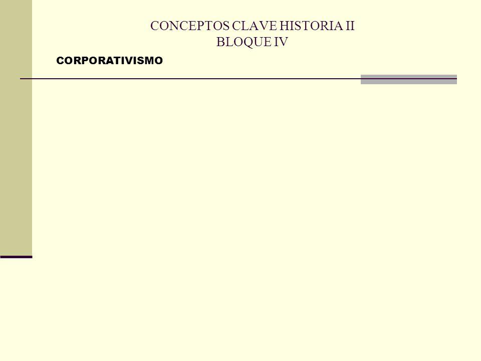 CONCEPTOS CLAVE HISTORIA II BLOQUE IV CORPORATIVISMO