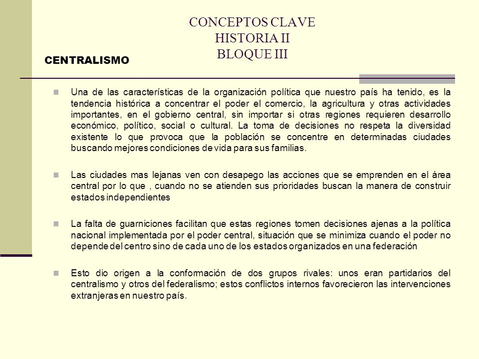CONCEPTOS CLAVE HISTORIA II BLOQUE IV PRESIDENCIALISMO