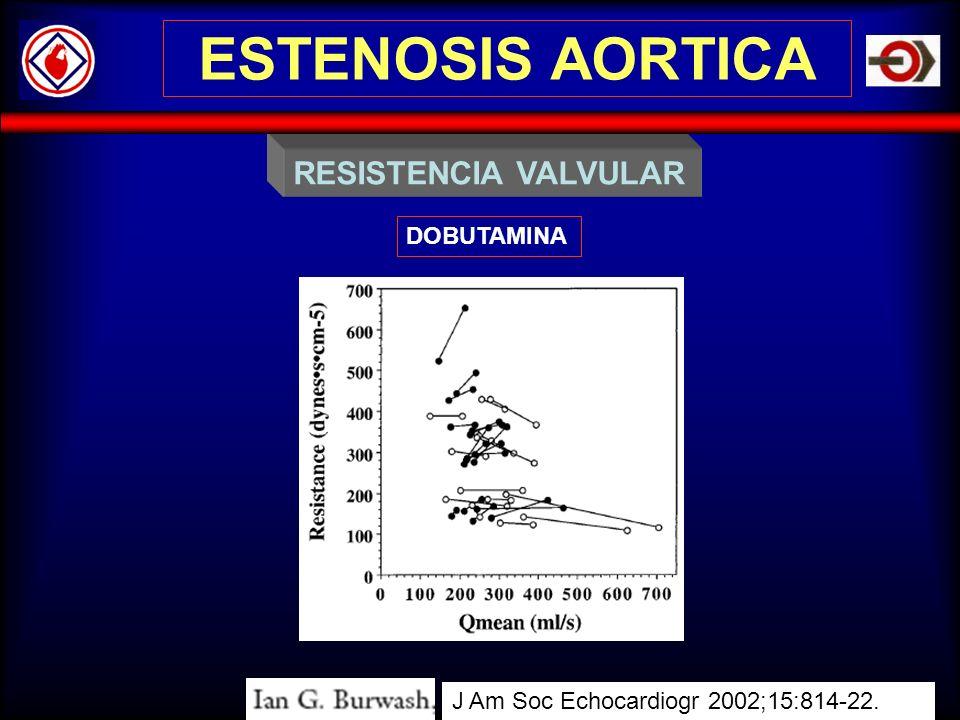 ESTENOSIS AORTICA RESISTENCIA VALVULAR DOBUTAMINA J Am Soc Echocardiogr 2002;15:814-22.