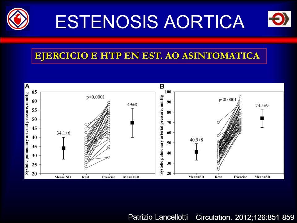 ESTENOSIS AORTICA EJERCICIO E HTP EN EST. AO ASINTOMATICA Circulation. 2012;126:851-859 Patrizio Lancellotti