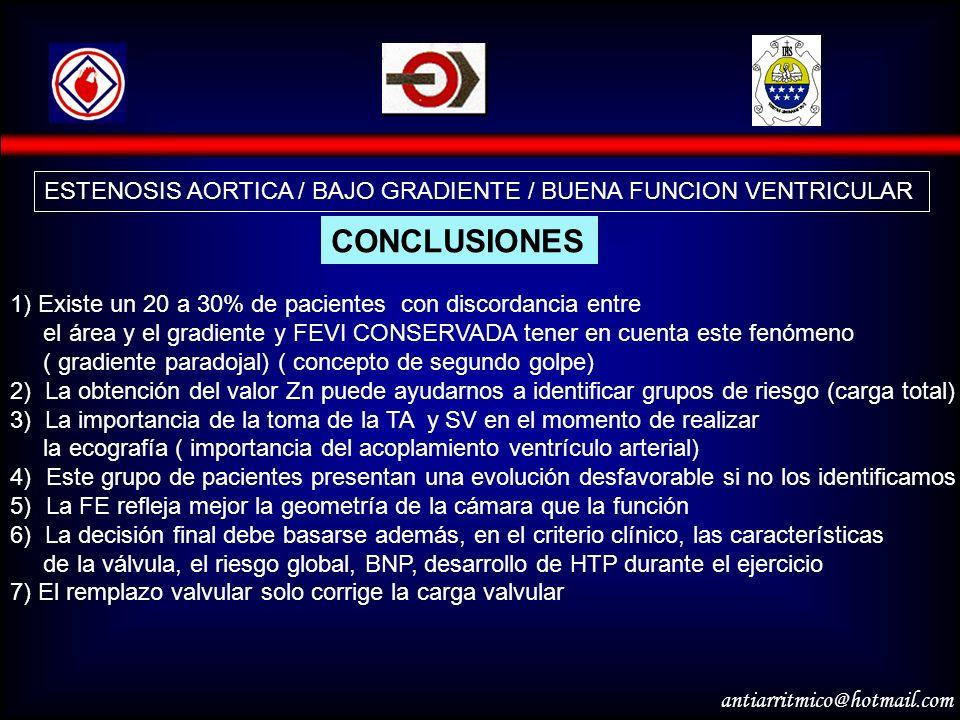 antiarritmico@hotmail.com ESTENOSIS AORTICA / BAJO GRADIENTE / BUENA FUNCION VENTRICULAR CONCLUSIONES 1) Existe un 20 a 30% de pacientes con discordan