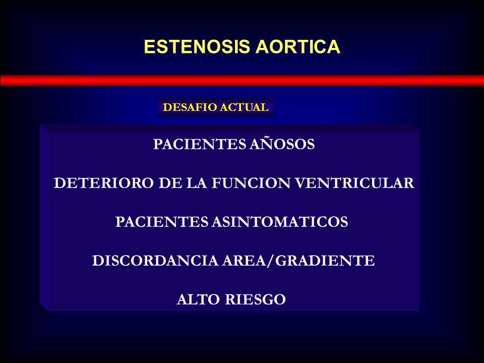 ESTENOSIS AORTICA PACIENTES AÑOSOS DETERIORO DE LA FUNCION VENTRICULAR PACIENTES ASINTOMATICOS DISCORDANCIA AREA/GRADIENTE ALTO RIESGO DESAFIO ACTUAL