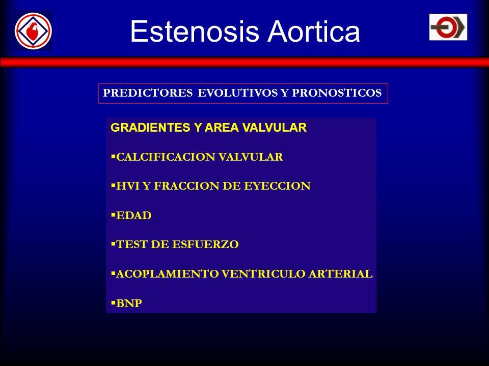 Estenosis Aortica PREDICTORES EVOLUTIVOS Y PRONOSTICOS GRADIENTES Y AREA VALVULAR CALCIFICACION VALVULAR HVI Y FRACCION DE EYECCION EDAD TEST DE ESFUE