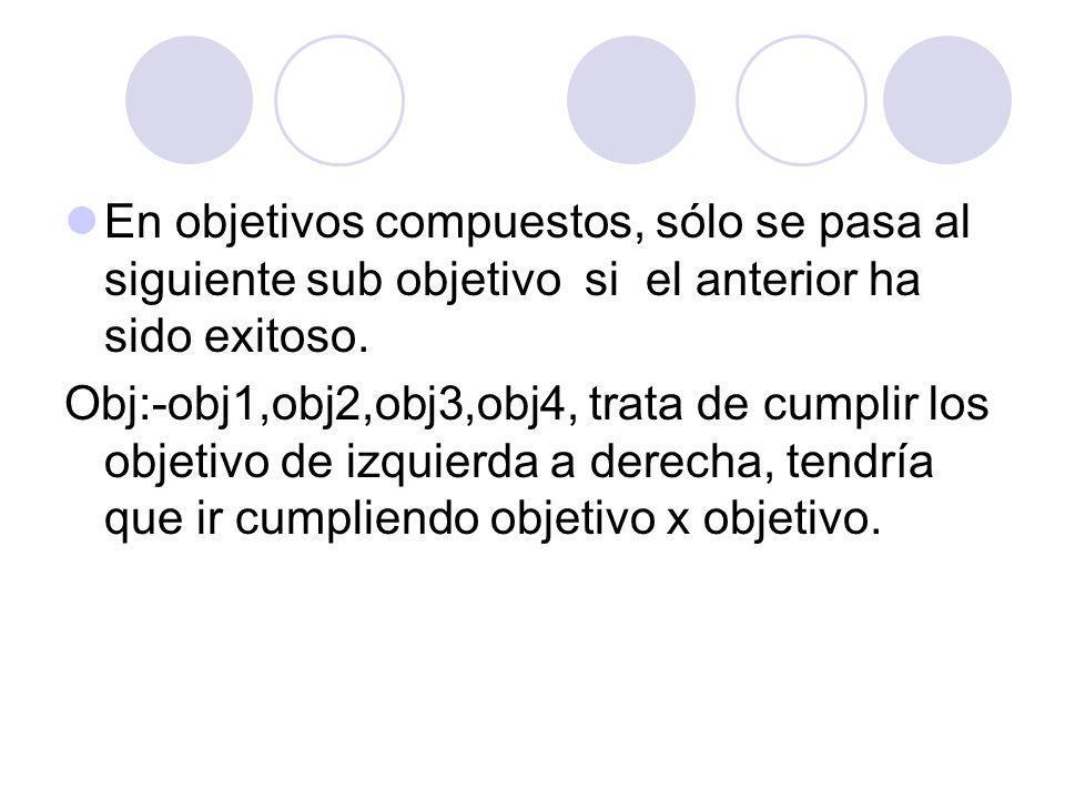 En objetivos compuestos, sólo se pasa al siguiente sub objetivo si el anterior ha sido exitoso. Obj:-obj1,obj2,obj3,obj4, trata de cumplir los objetiv