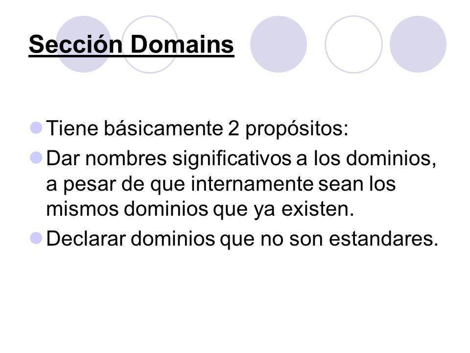 Sección Domains Tiene básicamente 2 propósitos: Dar nombres significativos a los dominios, a pesar de que internamente sean los mismos dominios que ya