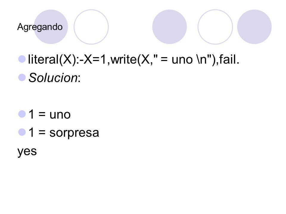 Agregando literal(X):-X=1,write(X,