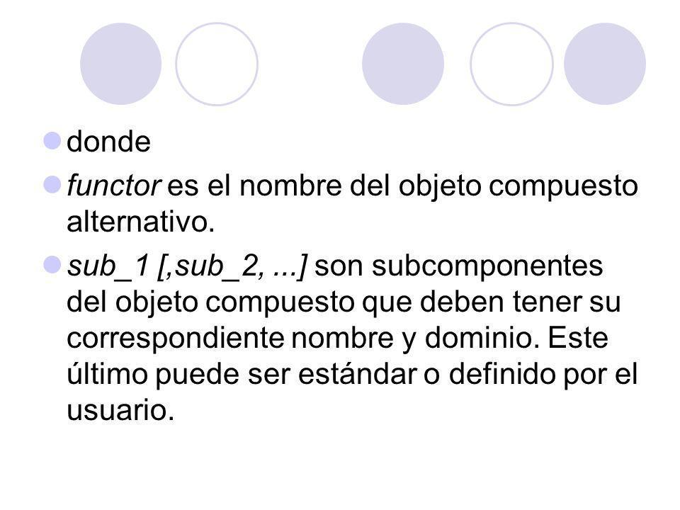 donde functor es el nombre del objeto compuesto alternativo. sub_1 [,sub_2,...] son subcomponentes del objeto compuesto que deben tener su correspondi