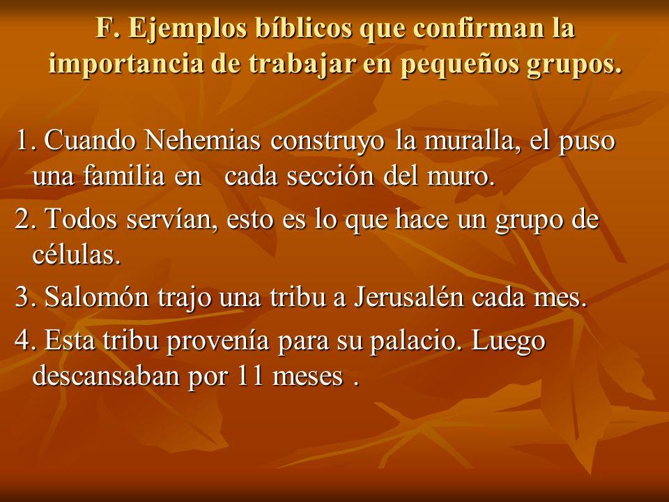 F. Ejemplos bíblicos que confirman la importancia de trabajar en pequeños grupos. F. Ejemplos bíblicos que confirman la importancia de trabajar en peq