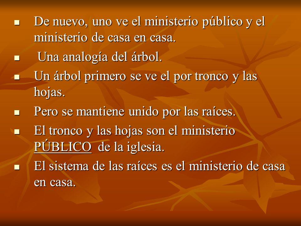 De nuevo, uno ve el ministerio público y el ministerio de casa en casa. De nuevo, uno ve el ministerio público y el ministerio de casa en casa. Una an