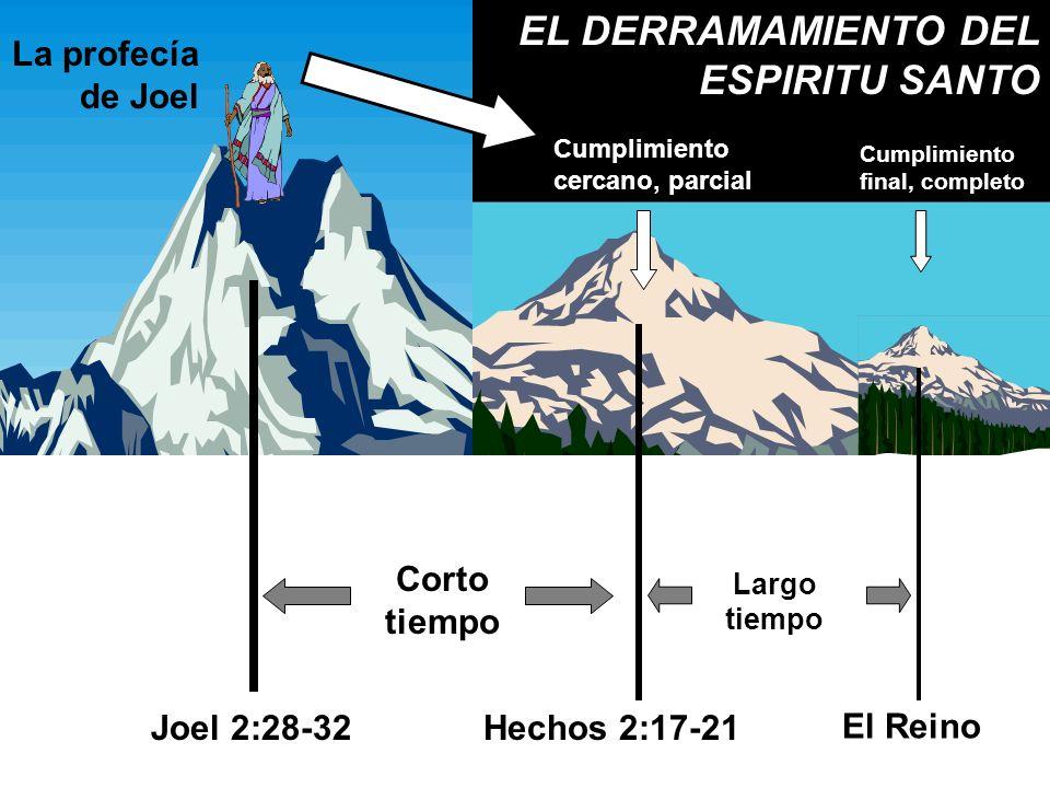 Cumplimiento cercano, parcial Cumplimiento final, completo Corto tiempo Largo tiempo La profecía de Joel Joel 2:28-32Hechos 2:17-21 El Reino EL DERRAM