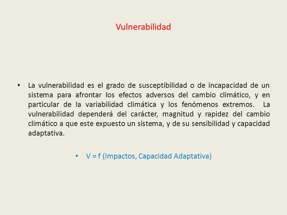 Vulnerabilidad La vulnerabilidad es el grado de susceptibilidad o de incapacidad de un sistema para afrontar los efectos adversos del cambio climático