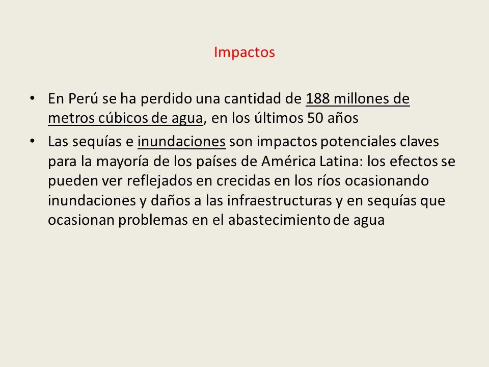 Impactos En Perú se ha perdido una cantidad de 188 millones de metros cúbicos de agua, en los últimos 50 años Las sequías e inundaciones son impactos