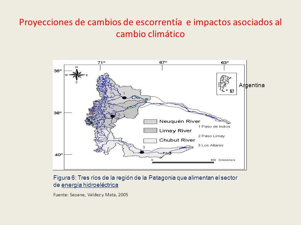 Proyecciones de cambios de escorrentía e impactos asociados al cambio climático Figura 6: Tres ríos de la región de la Patagonia que alimentan el sect