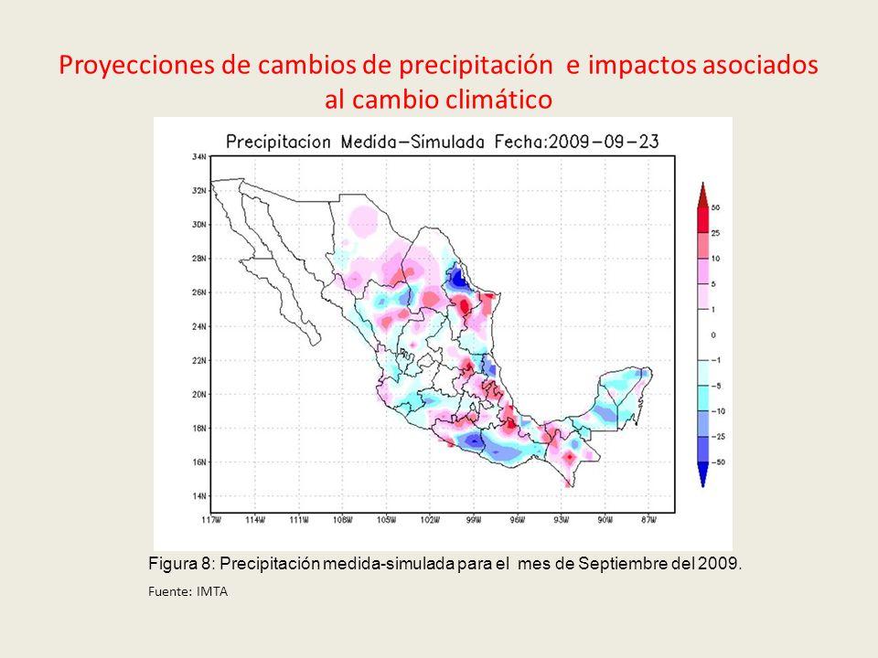 Proyecciones de cambios de precipitación e impactos asociados al cambio climático Figura 8: Precipitación medida-simulada para el mes de Septiembre de