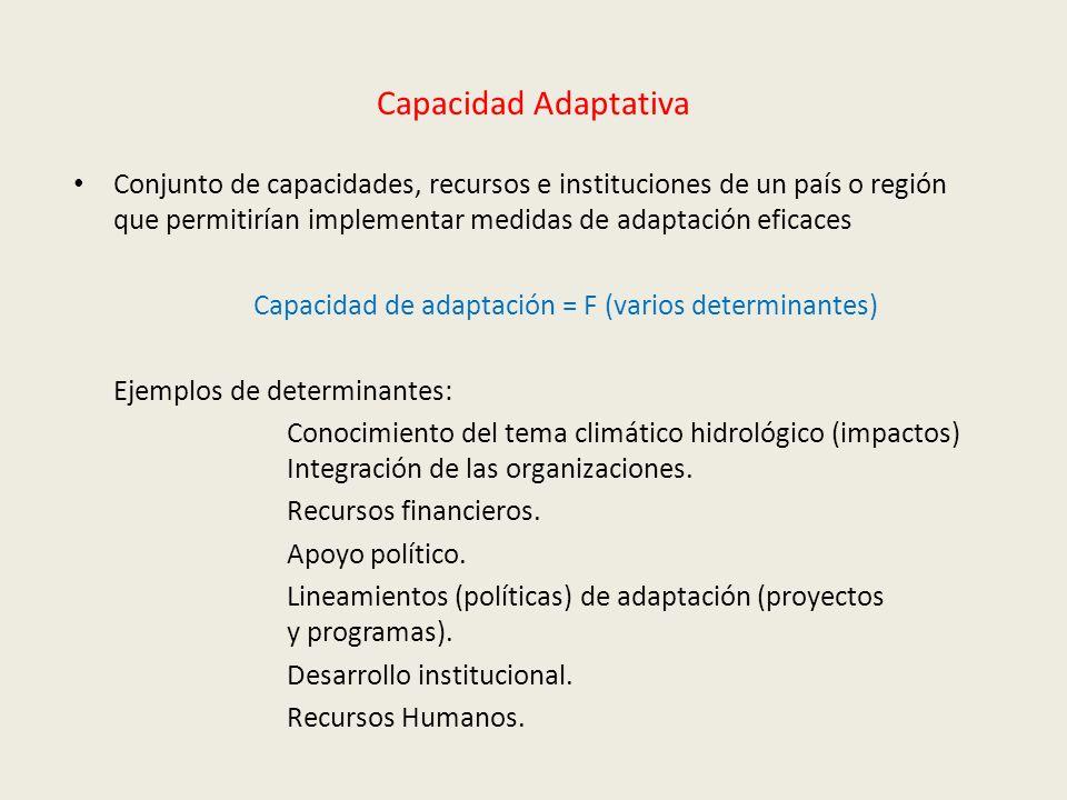 Capacidad Adaptativa Conjunto de capacidades, recursos e instituciones de un país o región que permitirían implementar medidas de adaptación eficaces