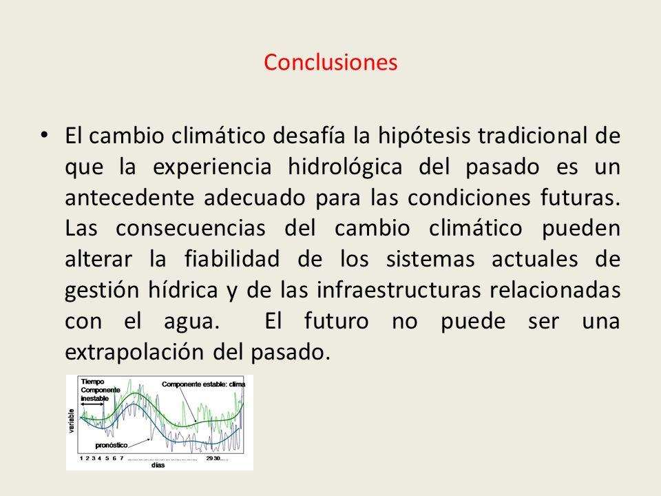 Conclusiones El cambio climático desafía la hipótesis tradicional de que la experiencia hidrológica del pasado es un antecedente adecuado para las con