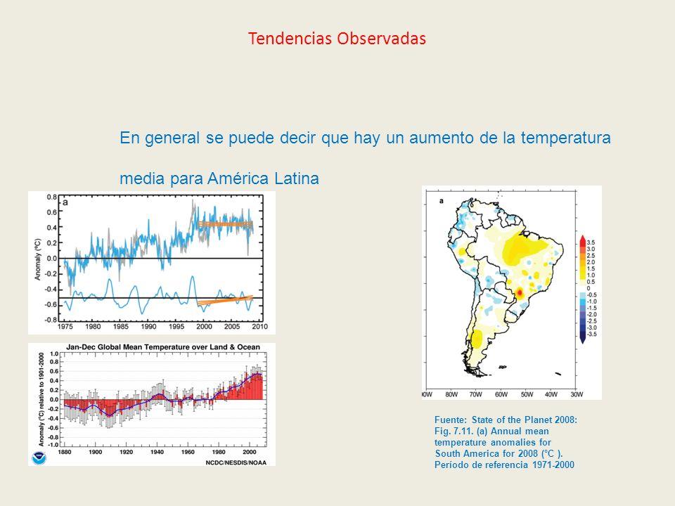 Tendencias Observadas En general se puede decir que hay un aumento de la temperatura media para América Latina Fuente: State of the Planet 2008: Fig.