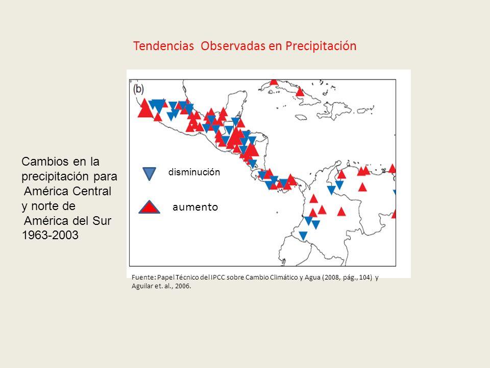Tendencias Observadas en Precipitación Cambios en la precipitación para América Central y norte de América del Sur 1963-2003 Fuente: Papel Técnico del