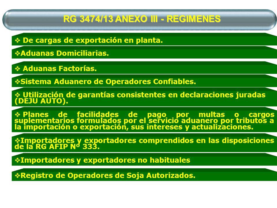 RG 3474/13 ANEXO III - REGIMENES De cargas de exportación en planta. Aduanas Domiciliarias. Sistema Aduanero de Operadores Confiables. Aduanas Factorí