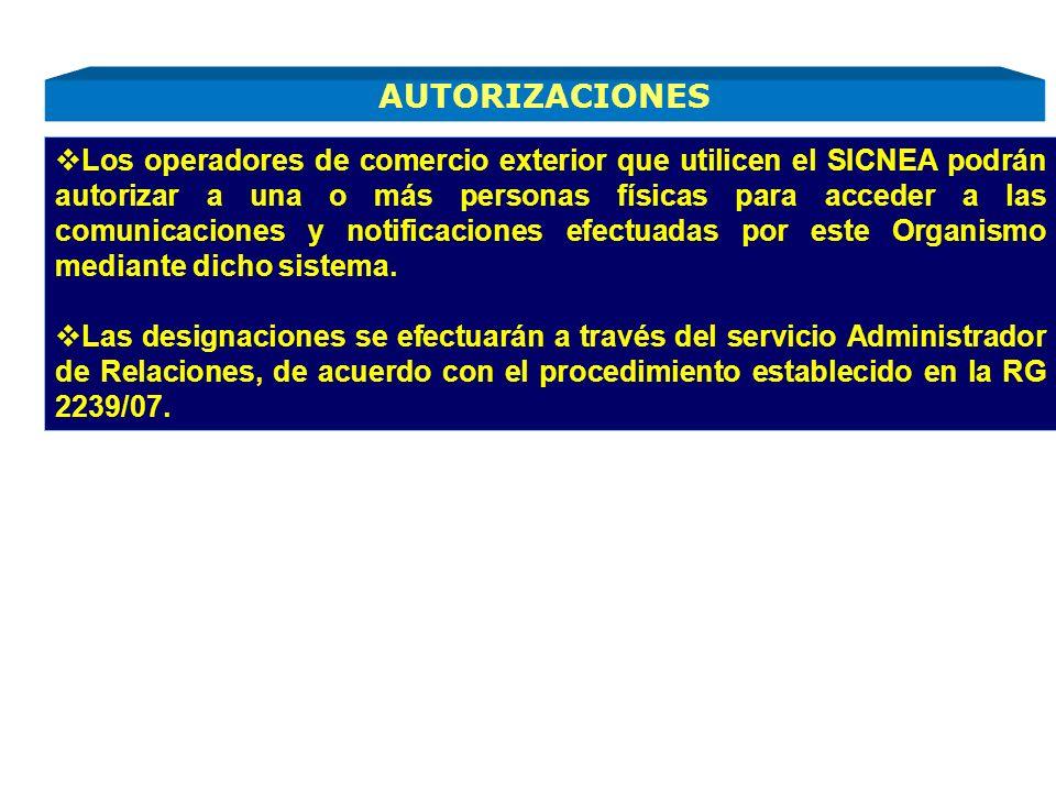 Los operadores de comercio exterior que utilicen el SICNEA podrán autorizar a una o más personas físicas para acceder a las comunicaciones y notificac