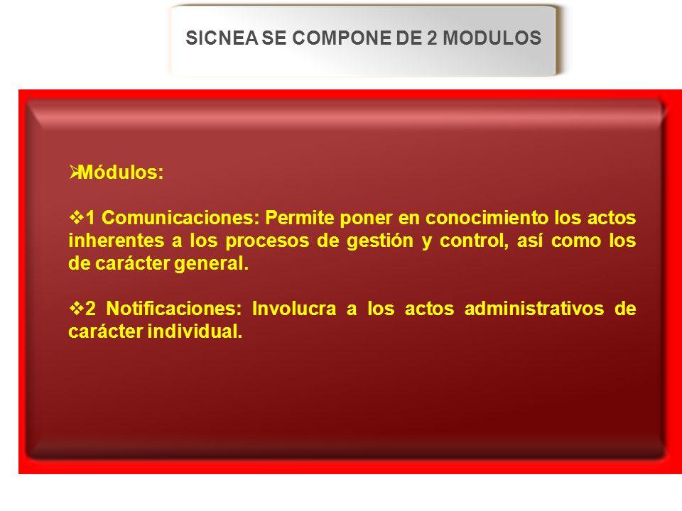 SICNEA SE COMPONE DE 2 MODULOS Módulos: 1 Comunicaciones: Permite poner en conocimiento los actos inherentes a los procesos de gestión y control, así