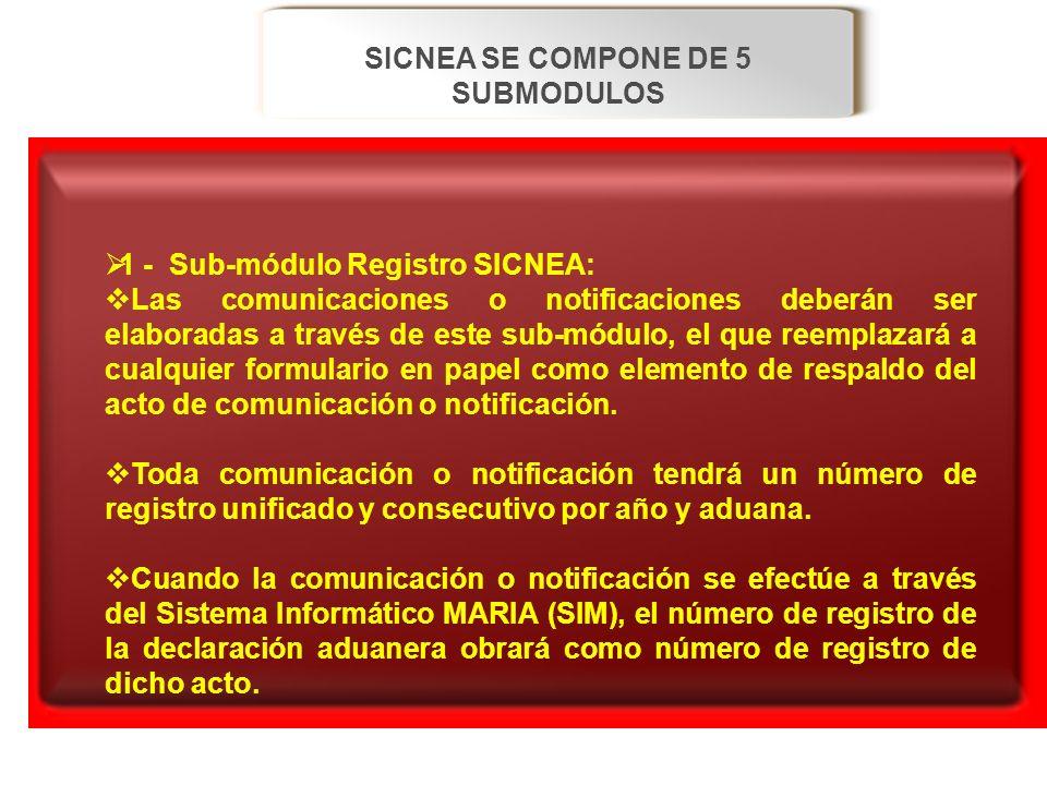 SICNEA SE COMPONE DE 5 SUBMODULOS 1 - Sub-módulo Registro SICNEA: 1 - Sub-módulo Registro SICNEA: Las comunicaciones o notificaciones deberán ser elab