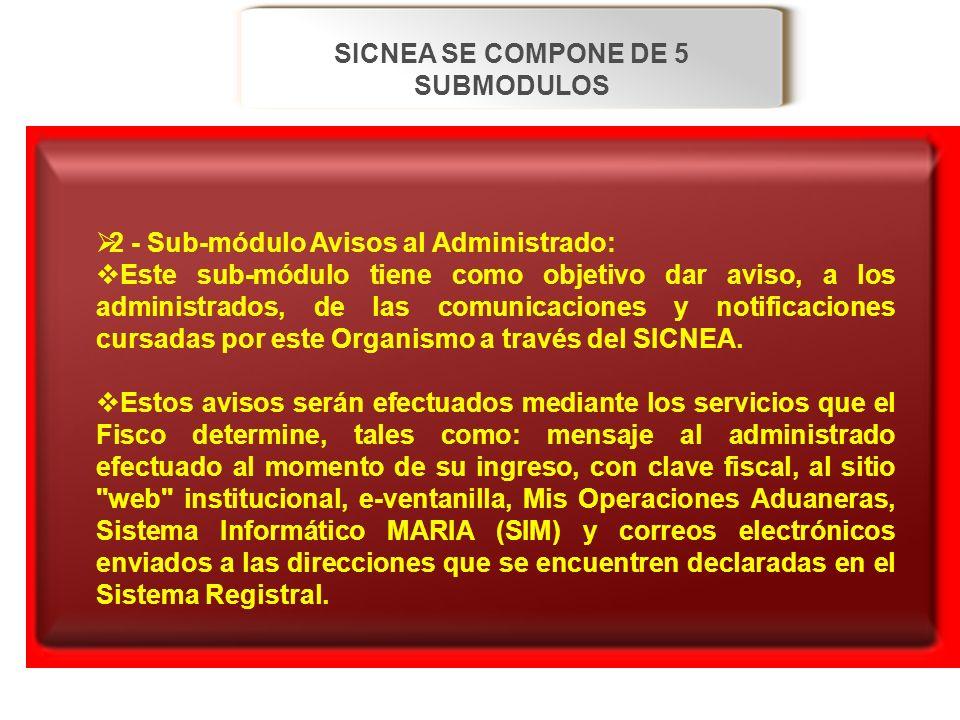 SICNEA SE COMPONE DE 5 SUBMODULOS 2 - Sub-módulo Avisos al Administrado: 2 - Sub-módulo Avisos al Administrado: Este sub-módulo tiene como objetivo da